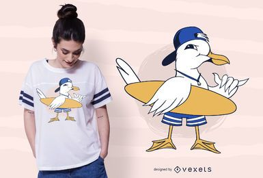 Surfing Seagull T-shirt Design