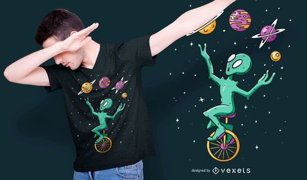 Design de camiseta do malabarista alienígena
