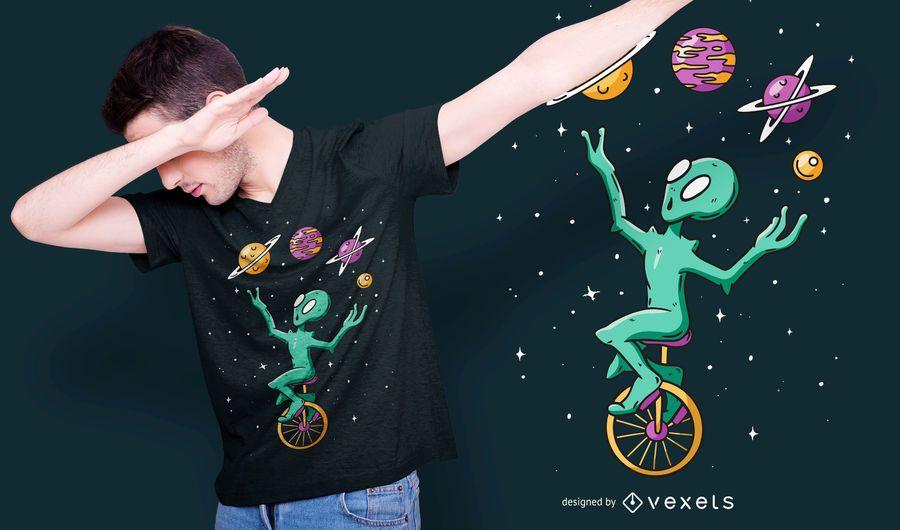 Design de camiseta do malabarista alienígena