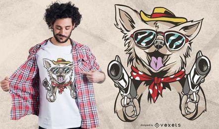 Design ocidental do t-shirt do cão da chihuahua