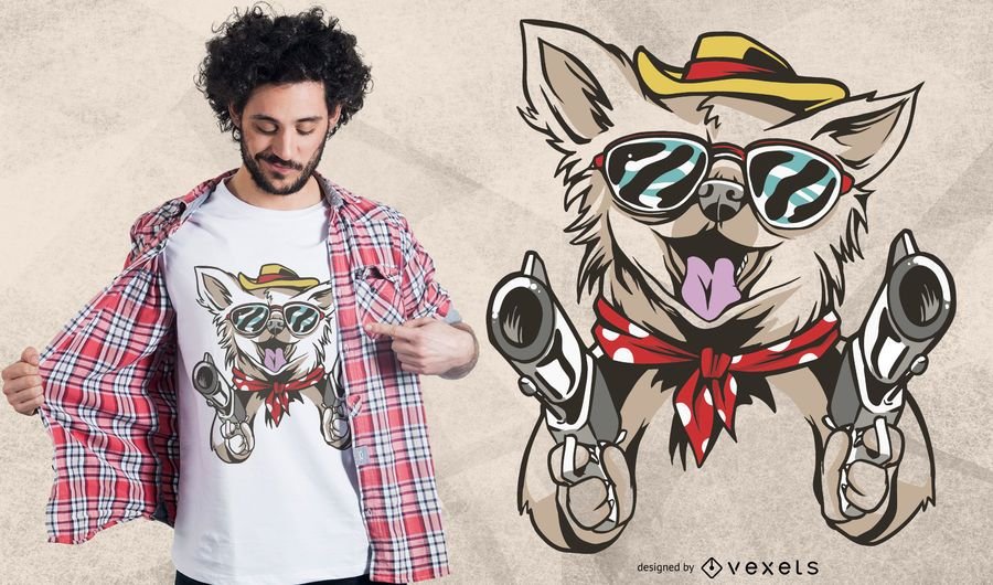 Chihuahua Western Dog T-shirt Design