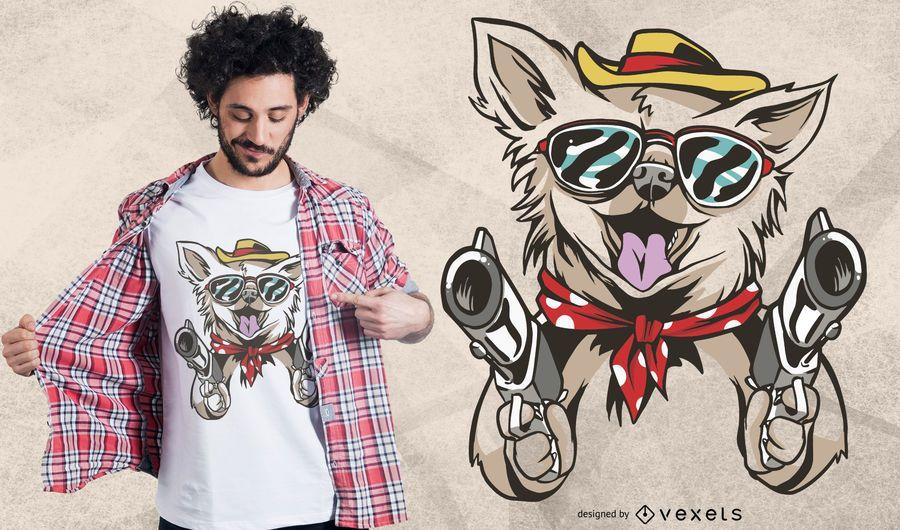 Diseño de camiseta Chihuahua Western Dog