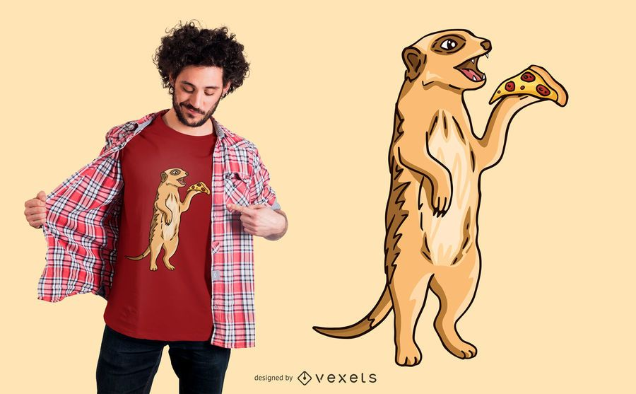 Pizza Meerkat T-shirt Design