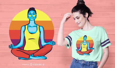 Colorful Yoga Woman T-shirt Design