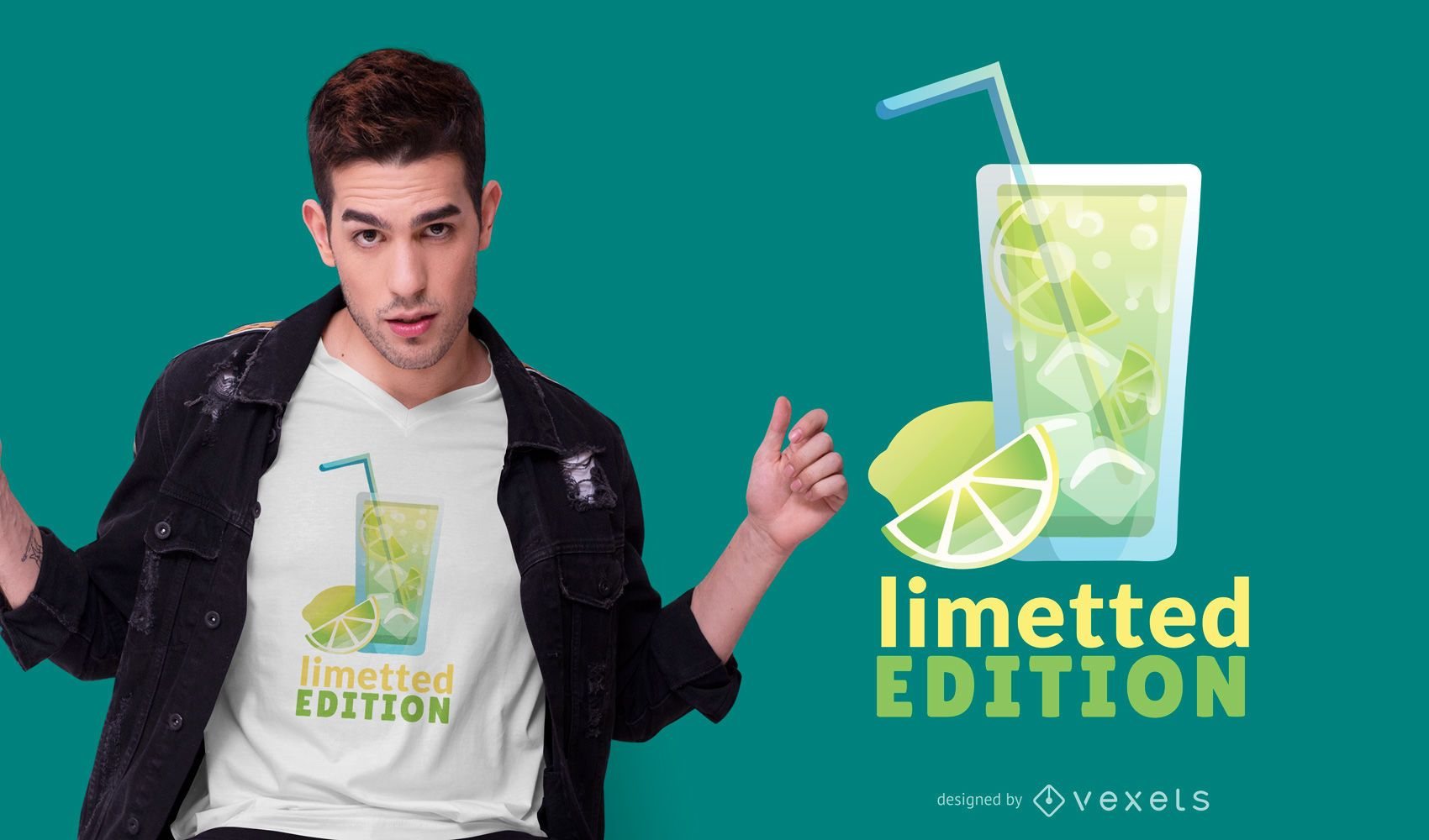 Design de camiseta com citações de limão e bebida