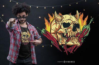 Projeto do t-shirt do crânio do demônio da malagueta picante