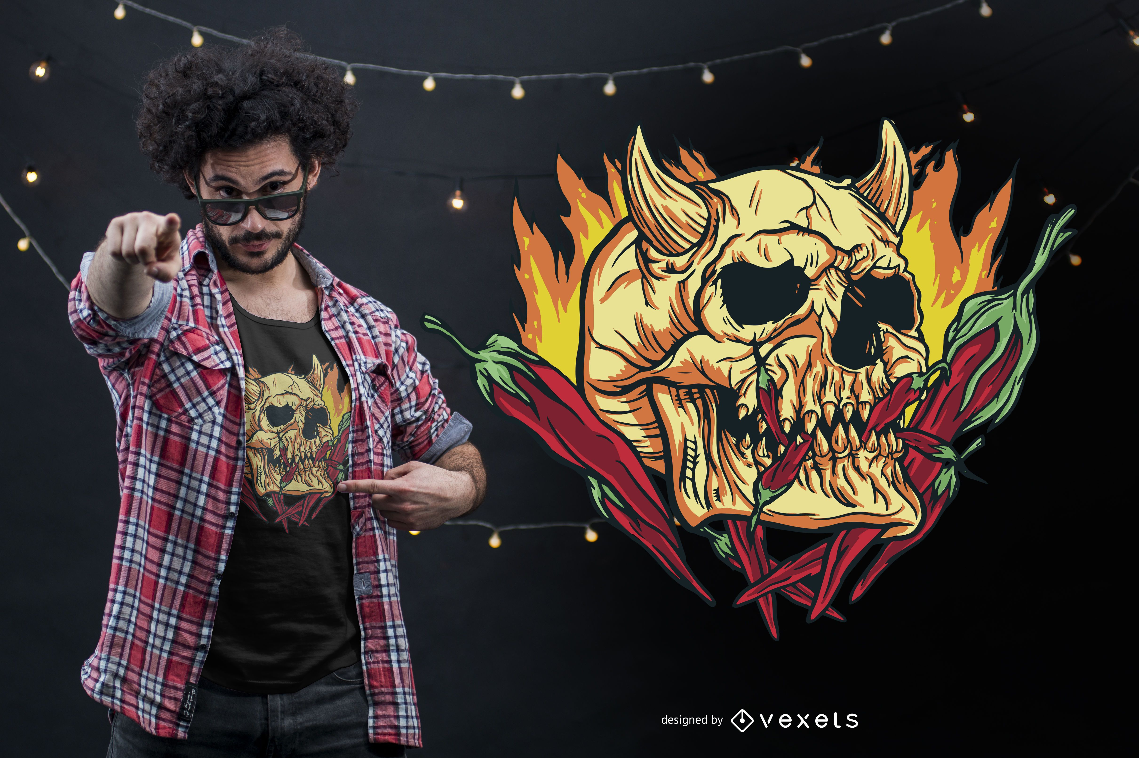 Hot Chili Demon Skull T-shirt Design