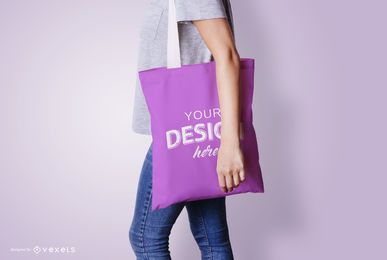 Model with tote bag mockup