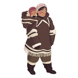 cute eskimo girl with baby on back