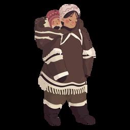 linda chica esquimal con bebé en la espalda