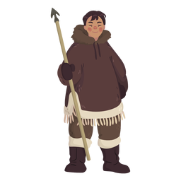 eskimo man with spear