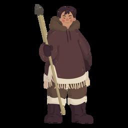 hombre esquimal con lanza