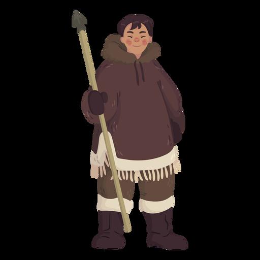 hombre esquimal con lanza Transparent PNG