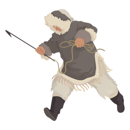 eskimo man with spear running