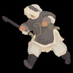 Eskimomann mit Speerlauf