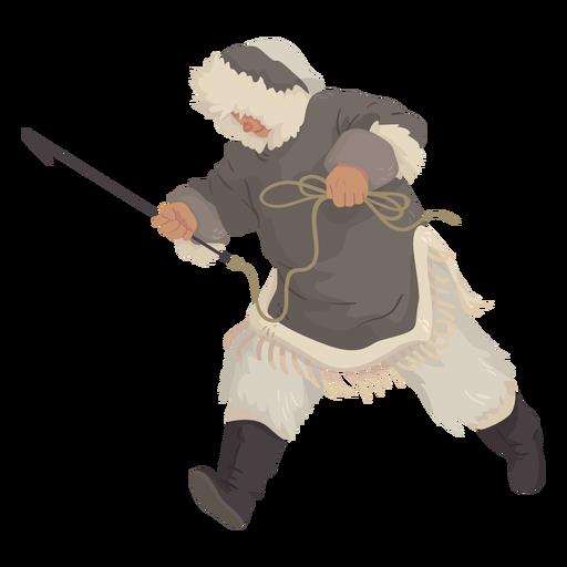 Eskimomann mit dem Speerlaufen Transparent PNG
