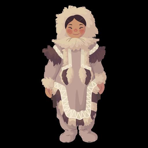 süßes Eskimo Mädchen stehend Transparent PNG
