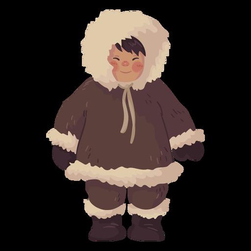 süßer Eskimo Junge lächelt Transparent PNG