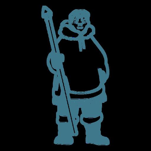 hombre esquimal con golpe de lanza Transparent PNG