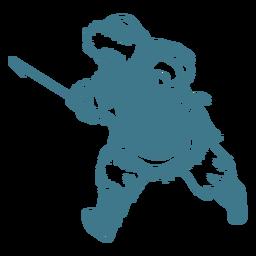 Hombre esquimal con lanza corriendo golpe