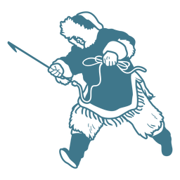 hombre esquimal con lanza corriendo