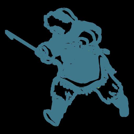 hombre esquimal con lanza corriendo Transparent PNG