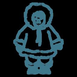 lindo niño esquimal trazo sonriente