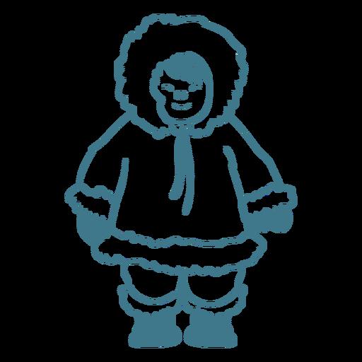 lindo niño esquimal sonriendo trazo Transparent PNG