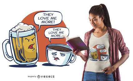 Diseño de camiseta Beer Vs Coffee