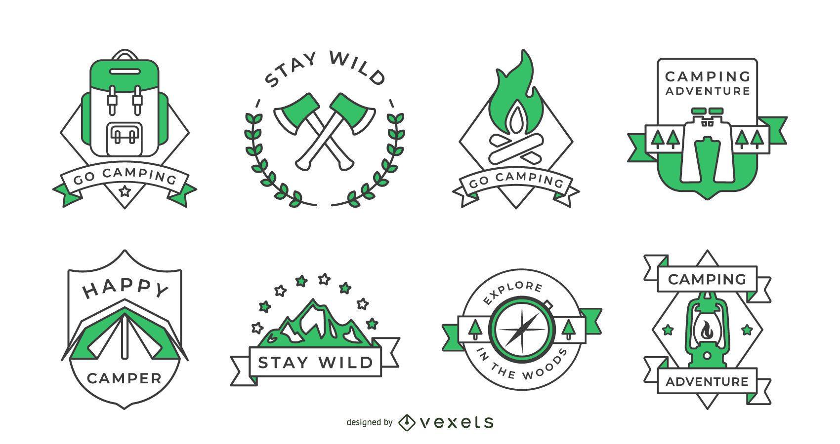 Coleção de emblemas de acampamento