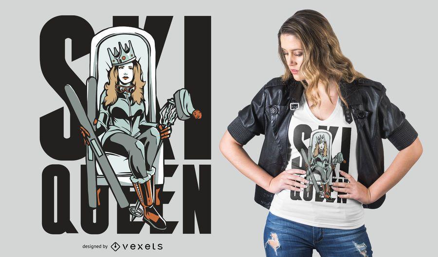 Design de t-shirt da rainha do esqui