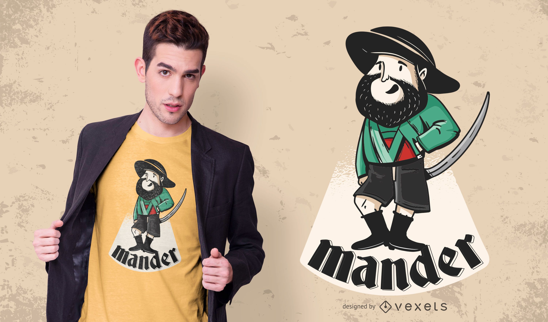 Diseño de camiseta de personaje de Tyrol