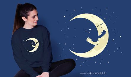 Crescent Moon Hug T-shirt Design