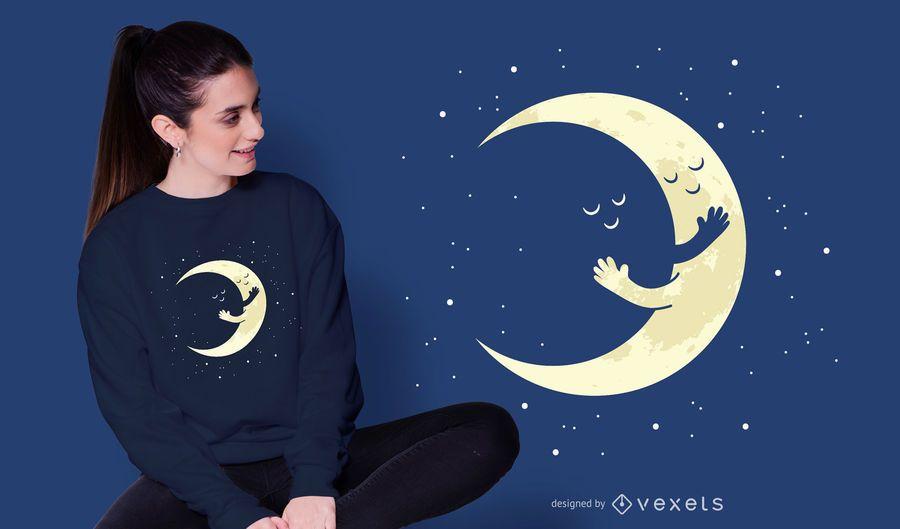 Crescent Moon Hug T-shirt Design