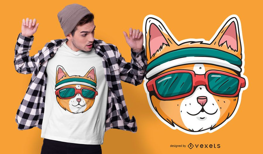 Diseño de camiseta de gato deportivo