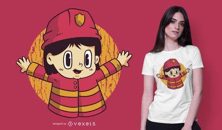 Design de camiseta de desenho animado de menino bombeiro