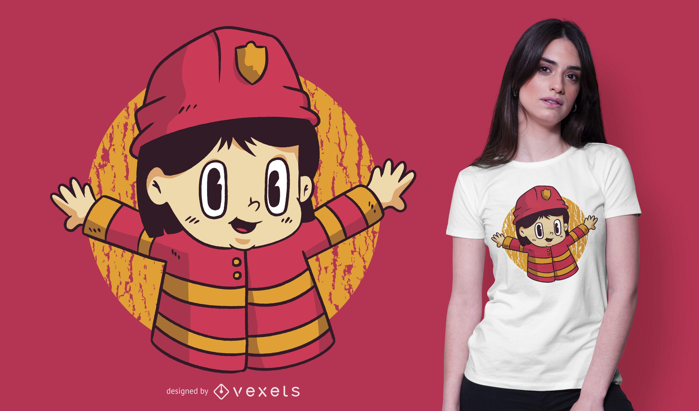 Firefighter Boy Cartoon T-shirt Design