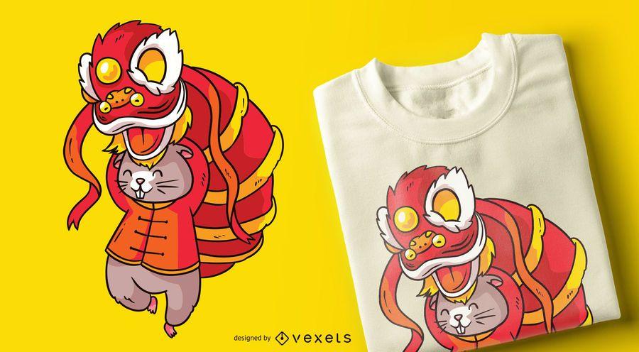 Design de t-shirt de dançarina de leão de rato chinês