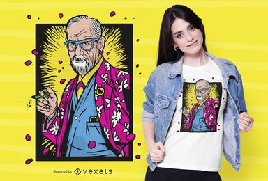 Diseño de camiseta hawaiana de Freud