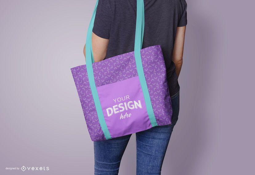 Design de maquete de modelo de sacola