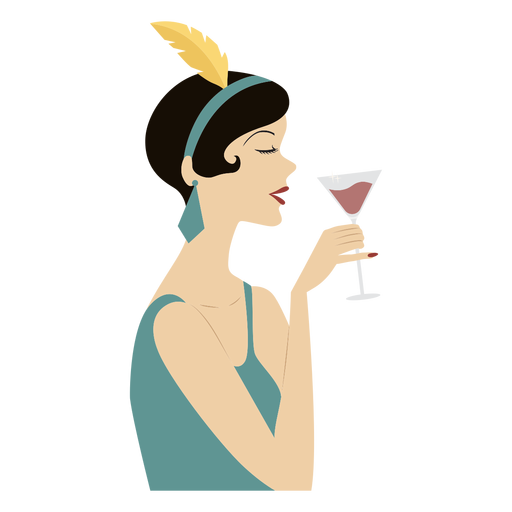 classy lady wine-on-hand colored  Transparent PNG