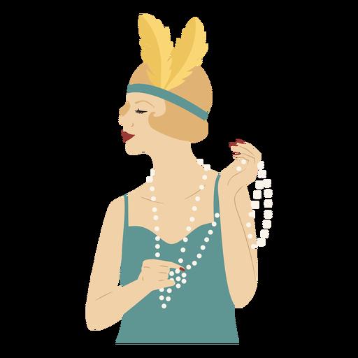 dama con collar de perlas de color