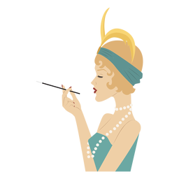 senhora elegante vista lateral com cigarro