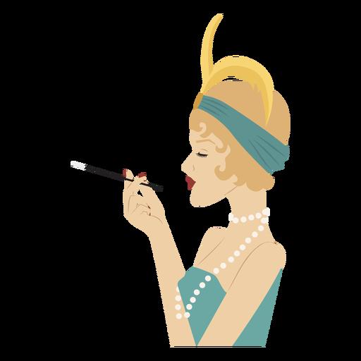 elegante dama vista lateral con cigarrillo