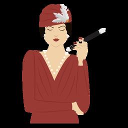 1920 dama con cigarrillo de color