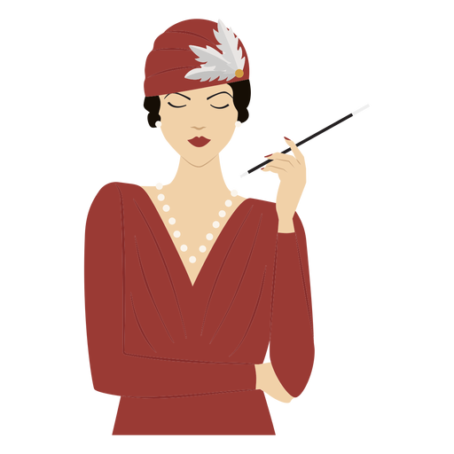1920s lady with cigarette colored Transparent PNG