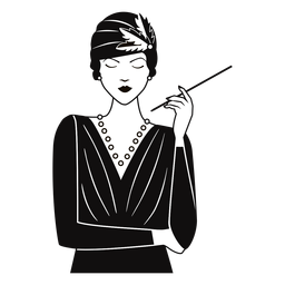 1920s lady with cigarette drawn