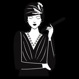 Senhora de 1920 com cigarro desenhado