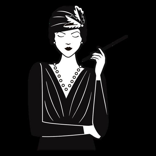 1920 dama con cigarrillo dibujado