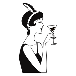 classy lady wine-on-hand drawn